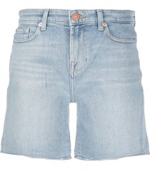 7 for all mankind denim high waisted shorts - blue