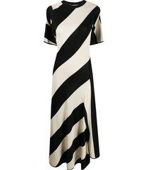 stella mccartney striped-knit cape-style midi dress - black