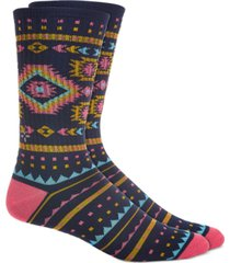 sun + stone men's blue geo stripe socks