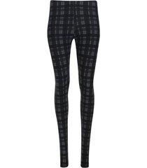 leggings estampado cuadros color negro, talla 10