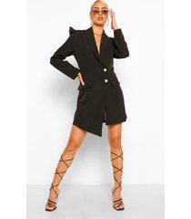asymmetrische blazer jurk met pofmouwen, black