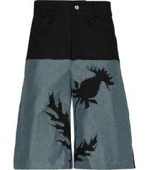 av vattev floral-detail two-tone shorts - black