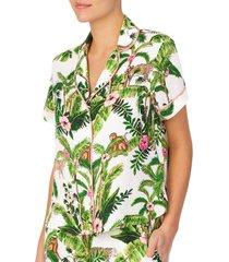 women's shady lady short sleeve pajama top, size x-large - green