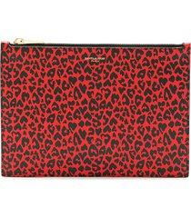 saint laurent leopard-print clutch bag - red