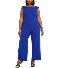 connected plus size boat-neck wide-leg jumpsuit
