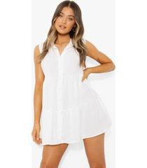 gesmokte mouwloze blouse jurk met laagjes, ivory