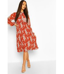 floral print pleated skirt midi dress, rust