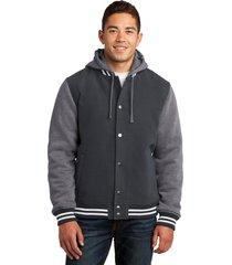 sport-tek jst82 mens insulated letterman jacket - graphite grey/vintage heather