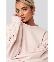 na-kd balloon sleeve oversized sweatshirt - pink
