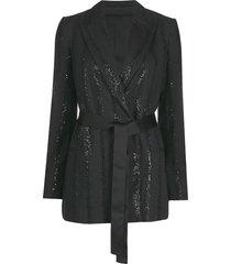 brunello cucinelli sequined belted blazer - black