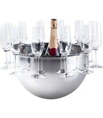 champanheira bottega inox com suporte para 12 taças - riva