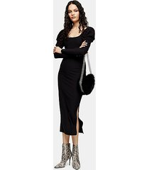 black ribbed puff sleeve bodycon dress - black