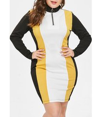 plus size color block half zipper bodycon dress