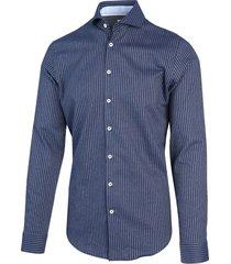 blue industry heren overhemd blauw verticale strepen perfect fit