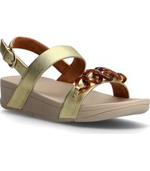 lottie tortoiseshell chain shoes summer shoes flat sandals guld fitflop