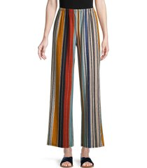 cocobleu women's striped knit pants - blue multi - size l