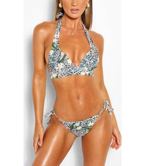 mix & match tropical animal plunge bikini top, white