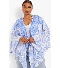 plus porcelein print wikkel top met kimono mouwen, blue