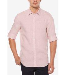 perry ellis men's linen blend textured shirt