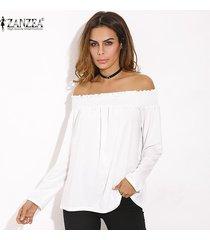 zanzea camisas con hombros descubiertos 2018 primavera blusas para mujer casual elegante slash neck manga larga blusas sólidas tops tallas grandes de gran tamaño off white -blanco