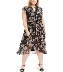 calvin klein plus size printed ruffled dress