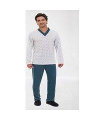 pijama masculino adulto inverno gravata
