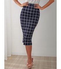 falda midi de cintura media a cuadros azul marino