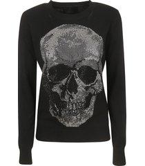 philipp plein round neck ls skull sweater