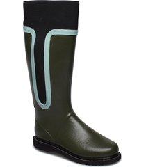 high rubber boot regnstövlar skor svart ilse jacobsen