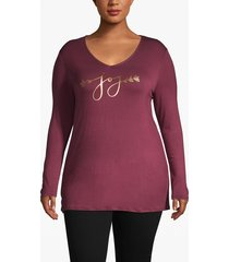lane bryant women's joy foil graphic tee 22/24 windsor wine