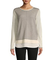 stripe front twofer sweater
