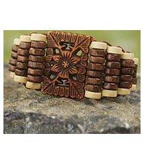 wood stretch bracelet, 'kumasi blossom' (ghana)