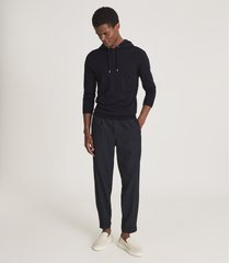 reiss holland - merino wool hoodie in navy, mens, size xxl