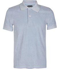 light blue cotton blend polo shirt