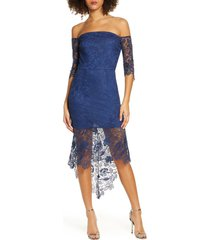 women's chi chi london korina off the shoulder lace cocktail dress, size 4 - blue