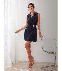 sin mangas con cuello de pico azul marino cinturón diseño abrigo vestido