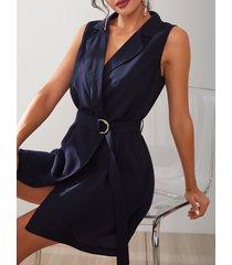 yoins azul marino cuello en v sin mangas cinturón diseño abrigo vestido