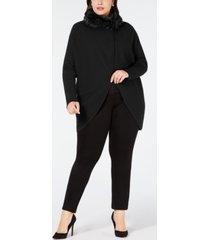 alfani plus size convertible sweater with faux-fur trim, created for macy's