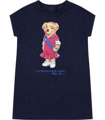 ralph lauren blue dress for babygirl with bear