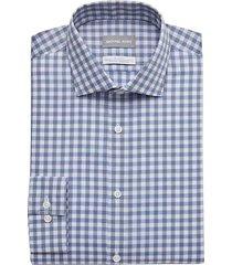 michael kors men's blue & black gingham slim fit dress shirt - size: 18 34/35