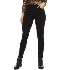 pantalón tentation pitillo botones negro - calce ajustado