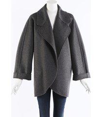 michael kors collection gray fleece wool oversized shell jacket gray sz: l