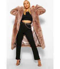 lange luxe faux fur jas, mink