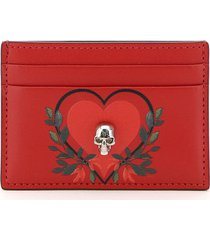 alexander mcqueen printed card holder pouch skull