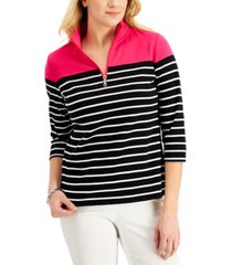 karen scott 3/4-sleeve stripe zip-neck top, created for macy's