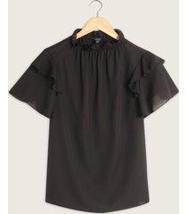 blusa unicolor manga corta con recogido en cuello-l