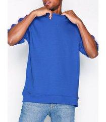 topman cobalt blue panel short sleeve sweatshirt t-shirts & linnen blue