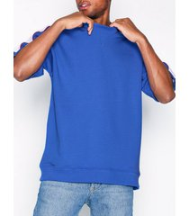 topman cobalt blue panel short sleeve sweatshirt t-shirts & linnen blue