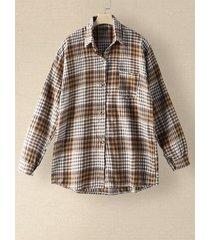 camicetta ampia con risvolto e maniche lunghe con tasche a quadri check