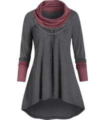 contrast heathered chain embellished high low t-shirt